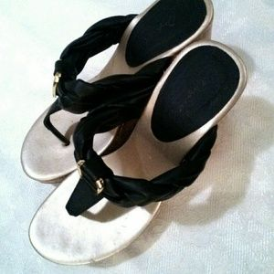Qupid Shoes Open Toe Black Thong Cork Wedge Heels